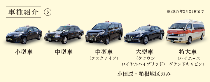 Vehicles Small-sized Mid-sized Mid-sized (TOYOTA Esquire) Large-sized (TOYOTA Crown Royal) Odawara/ Hakone area only
